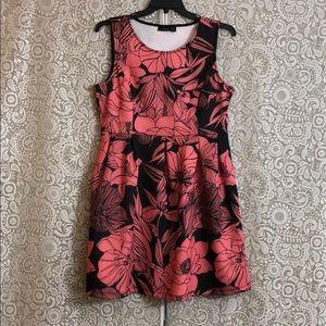 Black & pink tropical dress